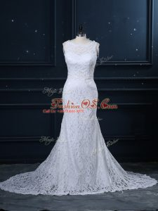 White Mermaid Lace Wedding Gowns Backless Lace Sleeveless