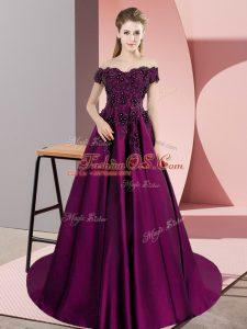 Hot Sale Purple Off The Shoulder Neckline Lace 15th Birthday Dress Sleeveless Zipper