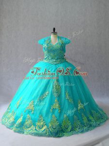 Traditional Aqua Blue Tulle Lace Up Sweetheart Sleeveless Quinceanera Gowns Appliques