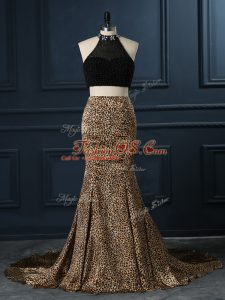Customized Multi-color High-neck Neckline Beading Prom Party Dress Sleeveless Zipper