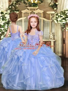 Floor Length Lace Up Little Girls Pageant Dress Wholesale Blue for Party and Sweet 16 and Wedding Party with Beading