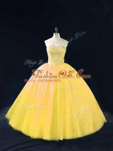 Gold Tulle Lace Up Sweetheart Sleeveless Floor Length 15th Birthday Dress Beading