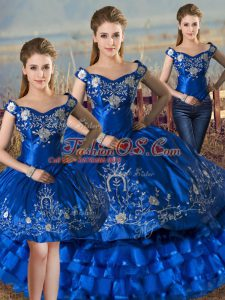 Royal Blue Quinceanera Dresses Sweet 16 and Quinceanera with Embroidery and Ruffled Layers Off The Shoulder Sleeveless Lace Up