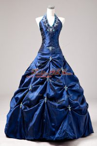 Gorgeous Royal Blue Lace Up Halter Top Appliques and Pick Ups Quinceanera Dresses Taffeta Sleeveless