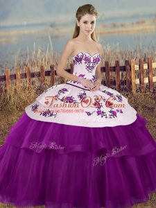 Romantic Tulle Sweetheart Sleeveless Lace Up Embroidery and Bowknot Quinceanera Gown in White And Purple