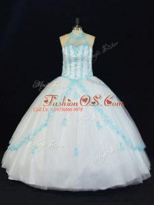 Most Popular Blue And White Halter Top Neckline Appliques Ball Gown Prom Dress Sleeveless Lace Up