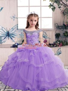 Sleeveless Floor Length Beading and Ruffles Lace Up Girls Pageant Dresses with Lavender