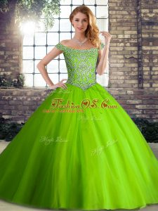 Sleeveless Beading Lace Up 15th Birthday Dress with Brush Train
