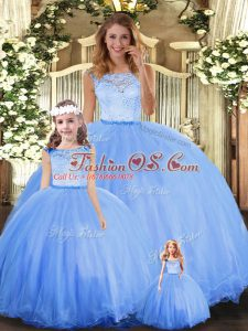 Floor Length Clasp Handle Quinceanera Dresses Blue for Military Ball and Sweet 16 and Quinceanera with Lace