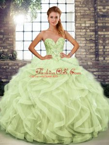 Clearance Beading and Ruffles Sweet 16 Dress Yellow Green Lace Up Sleeveless Floor Length