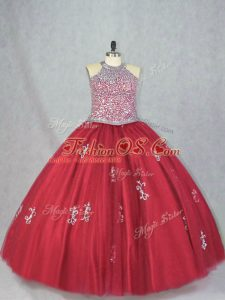 Smart Beading and Appliques Vestidos de Quinceanera Red Lace Up Sleeveless Floor Length