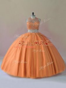 Orange Two Pieces Tulle Halter Top Sleeveless Beading Floor Length Backless Quinceanera Gown
