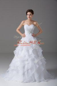 Affordable White Wedding Gowns Wedding Party with Beading and Ruffled Layers Sweetheart Sleeveless Brush Train Lace Up