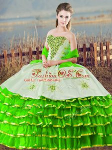Green Ball Gowns Sweetheart Sleeveless Organza Floor Length Lace Up Beading and Ruffled Layers 15 Quinceanera Dress