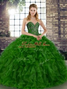 Green Lace Up Sweet 16 Quinceanera Dress Beading and Ruffles Sleeveless Floor Length