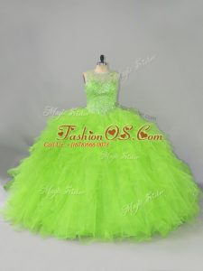 Ball Gowns Tulle Scoop Sleeveless Beading and Ruffles Lace Up Quince Ball Gowns