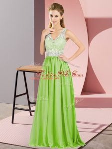 Fashionable Yellow Green Empire Chiffon V-neck Sleeveless Beading and Lace and Appliques Floor Length Zipper Mother Of The Bride Dress