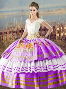 Lilac Ball Gown Prom Dress Sweet 16 and Quinceanera with Embroidery and Ruffled Layers V-neck Sleeveless Lace Up