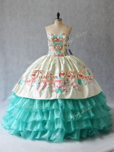 Aqua Blue Ball Gowns Embroidery and Ruffled Layers Quinceanera Dresses Lace Up Satin and Organza Sleeveless Floor Length