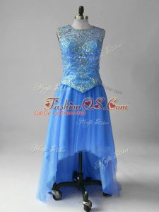 Simple Blue Lace Up Scoop Beading Prom Gown Tulle Sleeveless Brush Train