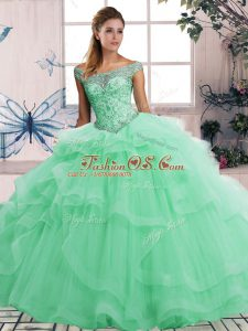 Colorful Off The Shoulder Sleeveless Lace Up 15 Quinceanera Dress Apple Green Tulle