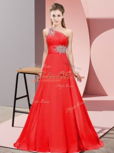 Brush Train Mermaid Evening Dresses Red One Shoulder Chiffon Sleeveless Lace Up