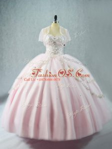 Pink Ball Gowns Tulle Sweetheart Sleeveless Beading Floor Length Lace Up Sweet 16 Quinceanera Dress