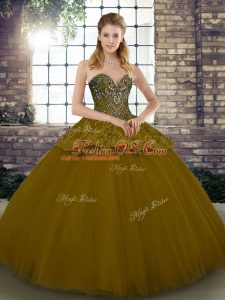 Sleeveless Floor Length Beading and Appliques Lace Up 15 Quinceanera Dress with Brown