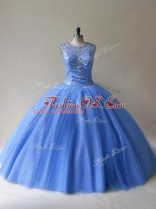 Fantastic Baby Blue Tulle Lace Up Scoop Sleeveless Floor Length Quinceanera Dress Beading