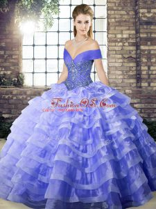 Fashion Lavender Ball Gowns Off The Shoulder Sleeveless Organza Brush Train Lace Up Beading and Ruffled Layers 15 Quinceanera Dress