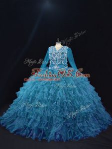 On Sale Teal Quinceanera Dresses Sweet 16 and Quinceanera with Beading and Ruffled Layers V-neck Long Sleeves Lace Up