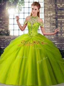Olive Green Tulle Lace Up 15th Birthday Dress Sleeveless Brush Train Beading and Pick Ups