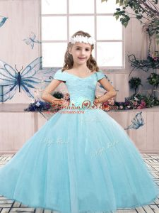 Latest Lace and Belt Little Girls Pageant Gowns Aqua Blue Lace Up Sleeveless Floor Length