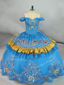 Dazzling Floor Length Ball Gowns Sleeveless Blue Sweet 16 Quinceanera Dress Lace Up