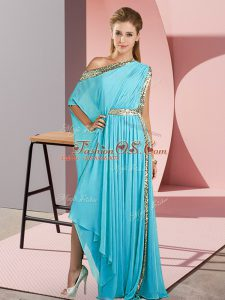 Chic Aqua Blue Sleeveless Asymmetrical Sequins Side Zipper Dress for Prom
