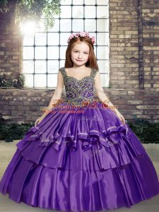 Low Price Sleeveless Lace Up Floor Length Beading Kids Pageant Dress