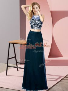 Artistic Floor Length Teal Mother Of The Bride Dress Scoop Sleeveless Backless
