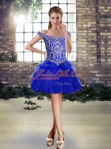 Royal Blue Off The Shoulder Lace Up Beading and Ruffles Dress Like A Star Sleeveless