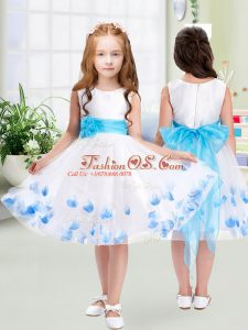 Scoop Sleeveless Tulle Flower Girl Dresses Appliques and Belt Zipper