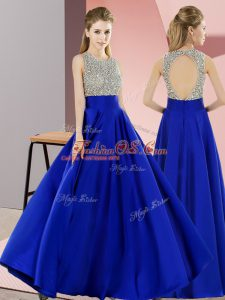 Shining Royal Blue Sleeveless Elastic Woven Satin Backless Prom Evening Gown for Prom and Party