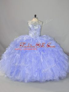 Romantic Beading and Ruffles Quinceanera Dresses Lavender Lace Up Sleeveless Floor Length