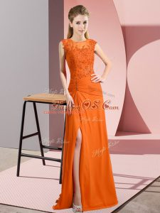 Chiffon Scoop Sleeveless Zipper Beading Mother Of The Bride Dress in Orange