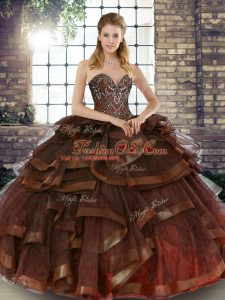 Fashion Brown Sweetheart Neckline Beading and Ruffles Quince Ball Gowns Sleeveless Lace Up