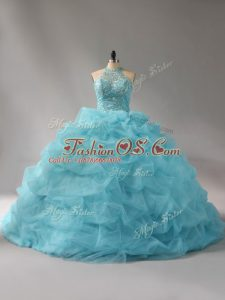 Organza Halter Top Sleeveless Court Train Lace Up Beading and Pick Ups Sweet 16 Quinceanera Dress in Aqua Blue
