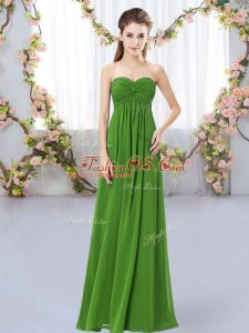 Sweetheart Sleeveless Zipper Wedding Guest Dresses Green Chiffon