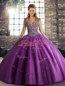 Artistic Purple Ball Gowns Straps Sleeveless Tulle Floor Length Lace Up Beading and Appliques Quinceanera Gown