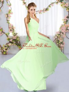 Empire Wedding Party Dress Yellow Green One Shoulder Chiffon Sleeveless Floor Length Lace Up