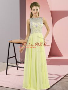 Super Chiffon High-neck Sleeveless Zipper Beading Mother Of The Bride Dress in Yellow