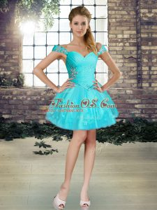 Exceptional Mini Length Ball Gowns Sleeveless Aqua Blue Cocktail Dresses Lace Up