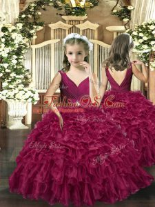 Fashion Burgundy V-neck Neckline Beading and Ruffles Little Girl Pageant Dress Sleeveless Backless